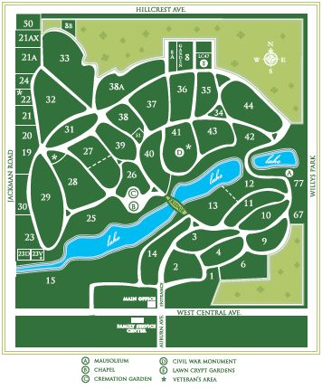 Map of Woodlawn Cemetery
